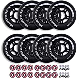Rollerex VXT500 Inline Skate Wheels (Various Size & Color Options Available) (80mm Steel Black (8 Wheels w/Bearings, spacers and washers)) -Indoor Outdoor- Intended for Roller Blade Wheel Replacement