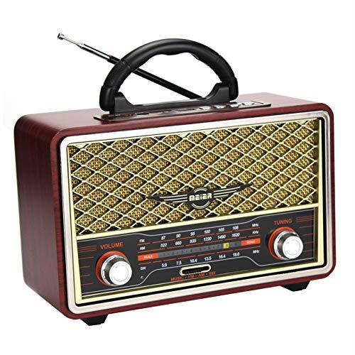 WUBAILI Radio Y Grabadora Retro Bluetooth Portátil con Sintonización Analógica De Radio Am/SW/FM, Tarjeta TF De Entrada AUX USB Micro-SD, para Oficina En Casa