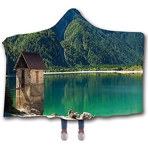 Duanrest Italia Suave Manta con Capucha portátil, Predil Lago Alpino Norte de Italia Frontera eslovena Alpes Julianos Paisaje idílico