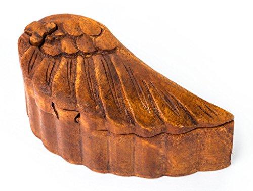Windalf Zauberdose NIANA 6.5 cm Engelsflügel Geschenk-Dose Handarbeit aus Holz