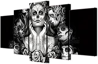 Halloween Day of Dead Skull Canvas Wall Art Abstract Black and White Print Home Decor for Living Room Contemporary Pictures 5 Panel Large Poster Painting Framed Ready to Hang (60