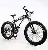 WellingA Mountainbike MTB, 24 Zoll 26 Zoll Fette Reifen Fahrrad, Fahrrad mit Scheibenbremsen, Rahmen aus Kohlenstoffstahl, MTB Fahrrad für Herren und Damen,003,26inch