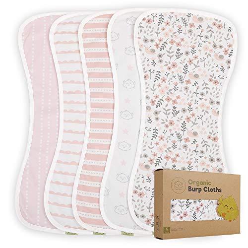 Paños orgánicos para eructos para bebés y niñas- Paquete de 5 eructos ultra absorbentes - Toalla Recien Nacida - Trapos de escupir leche - Babero Burpy para Unisex, Niño, Niña (Sweet Charm)