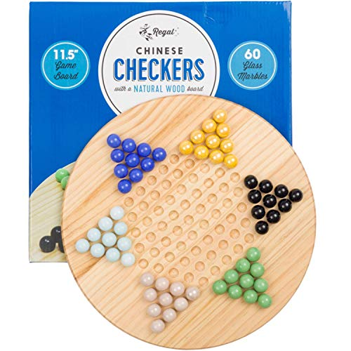 Regal Games Chinese Checkers Game Set with Natural Wood Board Game and 60 Glass Marbles, 11.5 inches