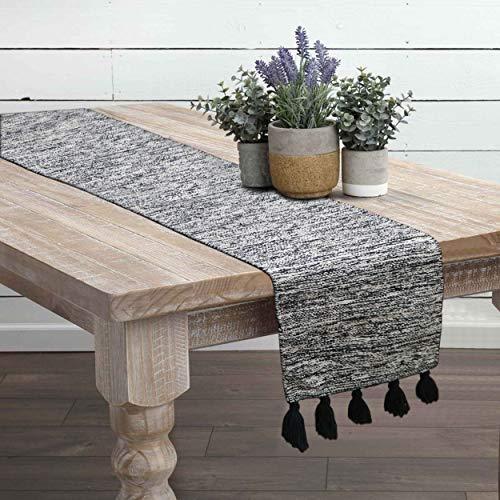O caminho de mesa de tecido manual The Home Talk, design rústico boêmio para festas, mesa de jantar, feriados, uso em casa, presente de aquecimento, Preto, 13x72 INCH