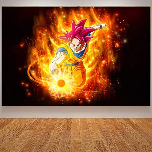 tzxdbh Anime Poster Goku Gohan Kids Babykamer Poster Japanse Wall Art Cavnas Schilderen Muur Foto's voor Slaapkamer Quadro Blue 20x30 Cm Unframed