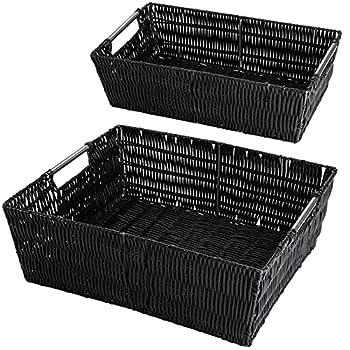 Yopay 2 Pack Storage Baskets Split Rattique Shelf Storage Tote Basket with Built-in Handles Rectangular Wicker Baskets for Home Organizer 15  x 12  x 5  14  x 8  x 4