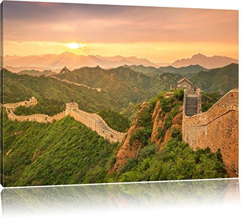 Chinesische Mauer, Format: 80x60 auf Leinwand, XXL riesige Bilder fertig gerahmt mit Keilrahmen, Kunstdruck auf Wandbild mit Rahmen, günstiger als Gemälde oder Ölbild, kein Poster oder Plakat