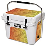 MightySkins (Cooler Not Included) Skin Compatible with YETI Roadie 20 qt Cooler wrap Cover Sticker Skins Red Orange Polygon