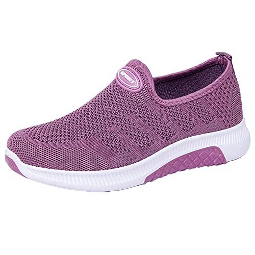 Zapatos de mujer para mujer, zapatillas de deporte para adolescentes, niñas, zapatos de escuela, cómodos para caminar, ligeros, deportivos, para correr, zapatos casuales y planos, Purple, 38.5 EU