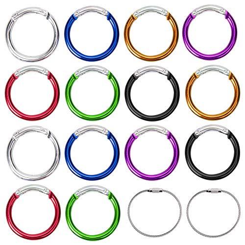 Vidillo Karabiner Schlüsselanhänger Karabinerhaken Set, 14 Stück Aluminium D-Ring Karabiner Clip mit 2 Edelstahl Draht Keychain-Kabel Durable Federbelastetes Tor-Set für Schlüssel (Round)
