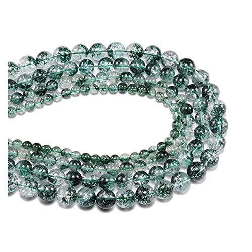 AIHONG Cuentas de Piedra Piedra Natural Críteles de Cristal Verde Granos para la Pulsera de Bricolaje 6 8 10 12 mm Perlas para la fabricación de Joyas Fabricación de Joyas