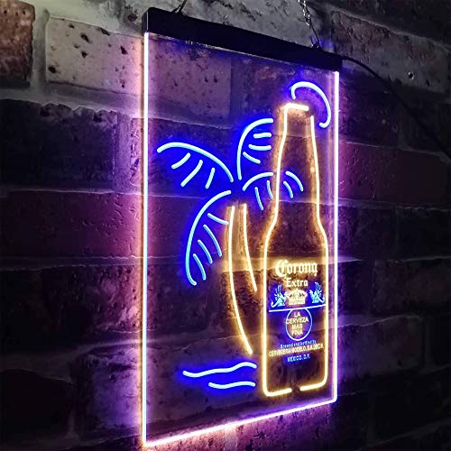 zusme Corona Extra Bottle Palm Tree Neuheit LED Neon Schild Blue + Yellow W40cm x H60cm
