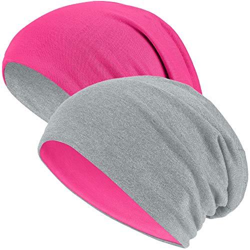 Hatstar Hatstar Slouch Long Beanie Reversible Strickmütze 2 in 1 Wintermütze in 48 Farben (2 in 1 hellgrau/pink)