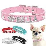 Bling Rhinestone Collar de perrito de perrito personalizado para perros pequeños Chihuahua Collar personalizado con nombres gratis accesorios para mascotas (S,Pink)