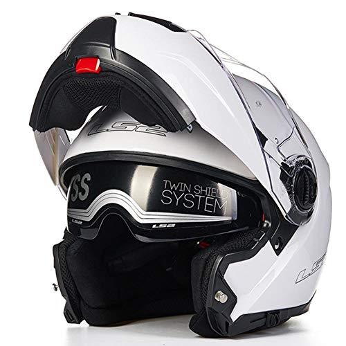 WUYEA Casque De Moto avec Lunettes Doubles Casques Intégraux Anti-Buée pour Hommes Et Femmes,White,XL