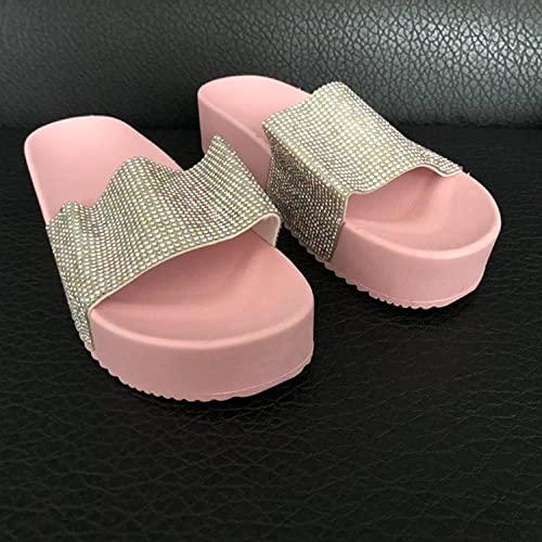 ZZLHHD Fondo Grueso Sandalias Punta Abierta Cuero,Pantuflas de Mujer, Sandalias Gruesas Muffin-Pink_40,Sandalias de Plataforma con Correa en T para Mujer