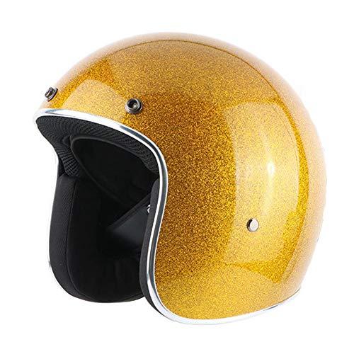 YWLG Motorrad Helm Retro Vintage Motorrad 3/4 Offenes Gesicht Halbe Helm Biker Racer Moto Helm Mehrere Farbe,Gold-XL60-61cm