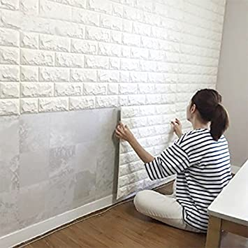 Careonline 3d Brick Wallpaper For Living Room Bedroom Decoration Home Decor 3d White Brick Pattern Spruce Up Waterproof Brick Wallpaper Modern Wall Background 57ft 35ft