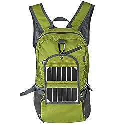 iRegro Solar Rucksack mit Akku, Outdoor Ultra-dünner Beweglicher Tasche mit höch Effizienz Sonnenkollektor, 3.5W Solar Panel Tasche mit 2000 mAh Power Bank für Camping, Klettern, Sport, Reisen und Ausflüge (Grün)