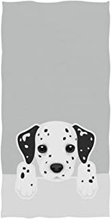 Naanle Cute Cartoon Dalmatian Dog Print Soft Absorbent Guest Hand Towels for Bathroom, Hotel, Gym and Spa (16 x 30 Inches,Gray)
