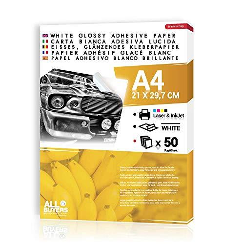 2AINTIMO Vellen Zelfklevend Glanzend Wit Zelfklevend Papier A4 - en Gepersonaliseerde Stickers Glanzende Etiketten voor Laser en Inkjet Print Inkjet Printable Adhesive Wit