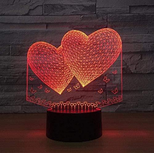 Luz de noche 3D para niños con lámpara de decoración doble de dos corazones lámpara 3D 7 colores LED noche lámpara para amigos Touch Led USB mesa dormir regalo de cumpleaños para niños