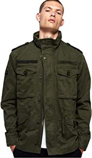 Superdry Men's Rookie Military-Style Cotton Field Jacket (Ivy Green, Large)