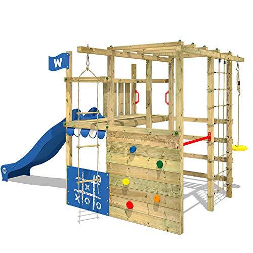 WICKEY Parco giochi in legno Smart Champ Giochi da giardino con scivolo blu, Scala svedese, Barre di scimmia, Struttura da gioco con parete d'arrampicata per bambini