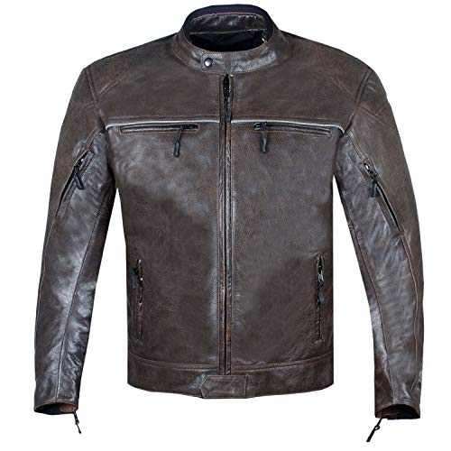 Men's Vintage Distress Brown Leather Cafe Racer Motorcycle Biker Jacket L