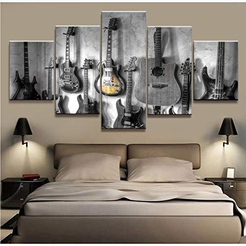 Meaosy Wall Art Hd Prints Home Living Room Decor 5 Piezas Guitarra Lienzo Pintura Instrumentos Musicales Cuadros Modulares Ilustraciones Póster-20X35/45/55Cm