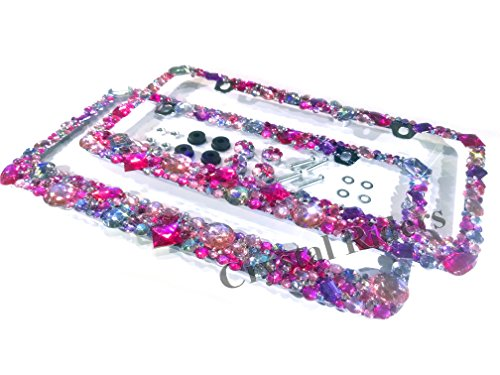 CRYSTAL RIDERS Pair of 2 Bling License Plate Frame with Anti-Theft Screw CAPS Pink Crystals Ab Iridescent Clear Metal Chrome Zink Alloy Holder Sparkly Sparkle Custom Hand Made Hand Crafted 2 Set