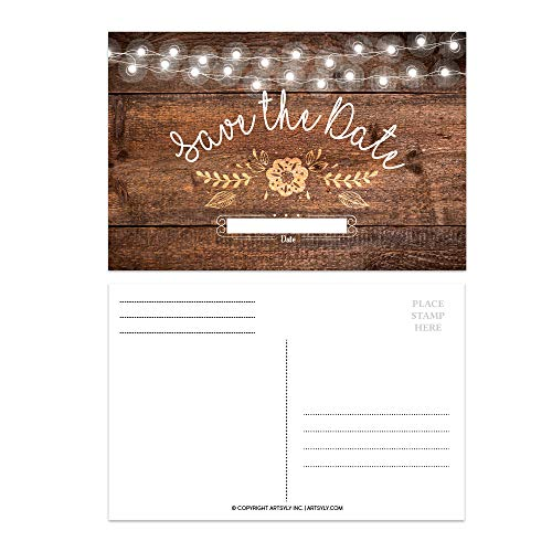 Set of 25 Rustic Party Save The Date Postcards, Rustic Invitations, Wedding Rehearsal Party, Engagement Party, Bachelorette, Bachelor, Birthday, Reception Party, Anniversary, Graduation