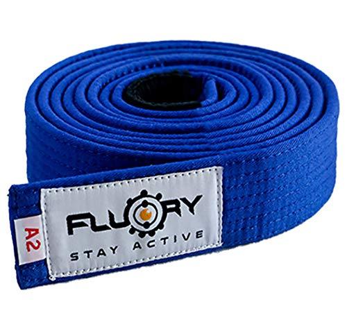 FLUORY BJJ - Cinture brasiliane da jujutsu, taglia A0, A1, A2, A3, A4, colore: bianco/viola/blu/marrone/nero, BTF01lan, A2