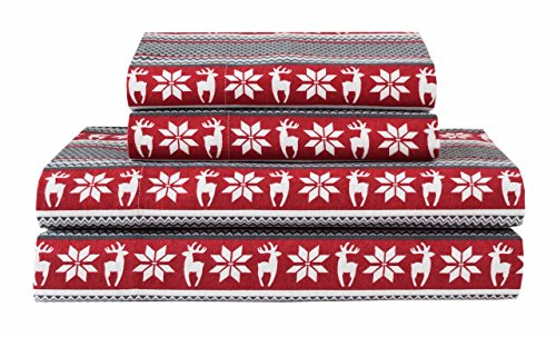 Elite Home Products Deep-Pocketed Winter Nights 100% Cotton Flannel Sheet Set, King, Deer/Red