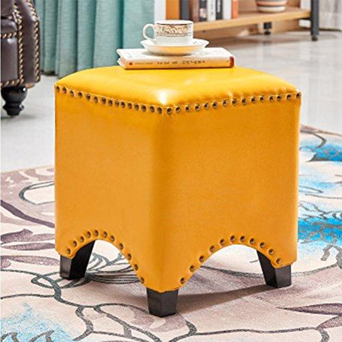 Beige Footstool Plein Makeup kaptafel voetenbankje Seat Duurzaam PU Leren Schoen Bench, 35cm x 35cm x 38 cm 408 (Color : Yellow)