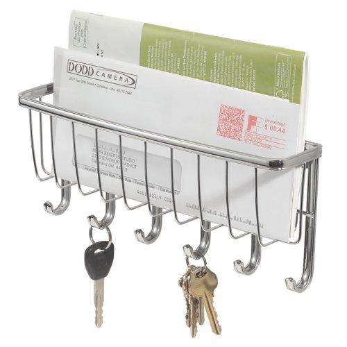 iDesign Briefablage, kleine Hakenleiste mit 6 Haken für Schlüssel aus Metall, Schlüsselbrett mit Ablage für Post und Notizen, silberfarben