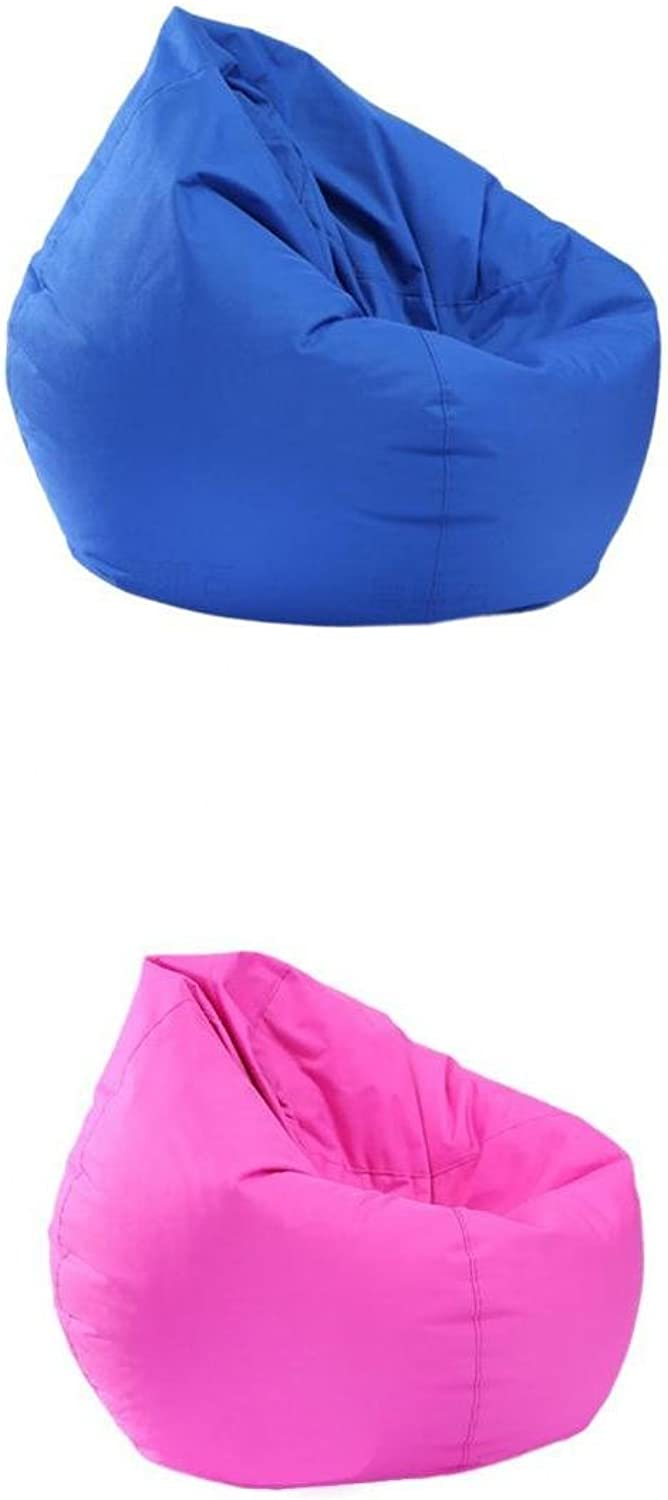 D DOLITY 2 Pieces Comfy Waterproof Bean Bag Cover Without Filling Kids Adults Royal bluee & Hot Pink