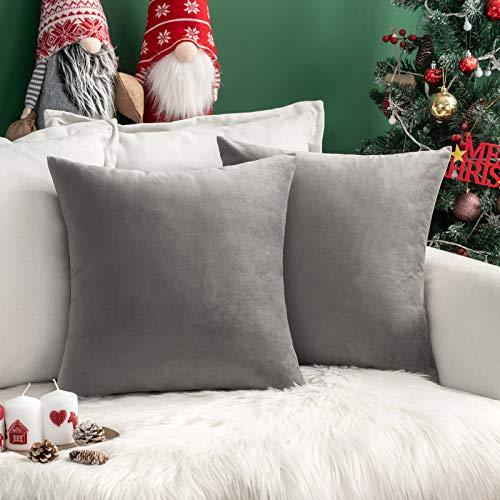 MIULEE Pack de 2, Terciopelo Suave Juego de Mesa de Manta de decoración Cuadrado Fundas de Almohada Funda de cojín para sofá dormitorio18 x 18 Pulgada 45 x 45 cm Gris
