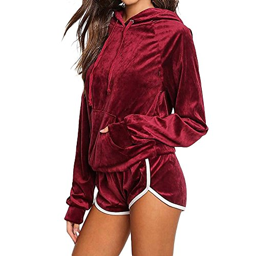 FORH Kleidung 2PCS Sets Damen langarm Hoodies Sweatshirt Chic velour Kapuzenpullover Clubwear mit Reizvolle High Waist Kurze Hose Sport Jumpsuit Sets Anzug (S, Rot)