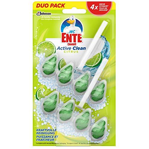 WC-Ente Active Clean WC Duftspüler-Einhänger Doppelpack, WC Reiniger, Citrus-Duft, 8er Doppelpack (16 x 38,6ml)