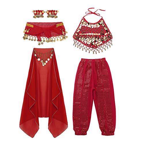 iiniim Conjunto de Traje Danza del Vientre para Niña Top + Cinturón + Pantalones + Pulseras + Mantilla con Lentejuelas Disfraz Carnaval Ropa de Baile India Dance Belly Rojo 8-10 años