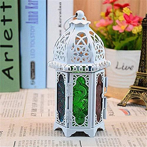 GPFFACAI Portavelas Decoracion Metal Hueco de la Vendimia del sostenedor de Vela del Color del Vidrio cristalino del marroquí de Velas Colgantes Fiesta de la Boda Linterna Decoración (Color : White)