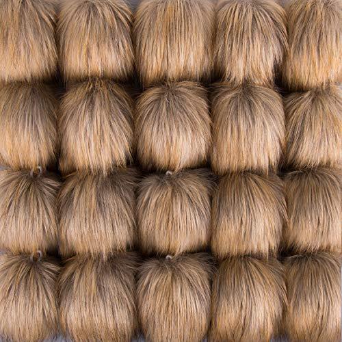 SIQUK 20 Stück Kunstfell Pompons Brown Fellbommel für Mützen Schlüsselanhänger Weihnachtsdekoration