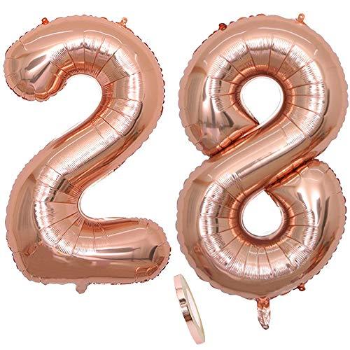 2 Luftballons Zahl 28, Nummer 28 Luftballon Rosegold Mädchen ,40