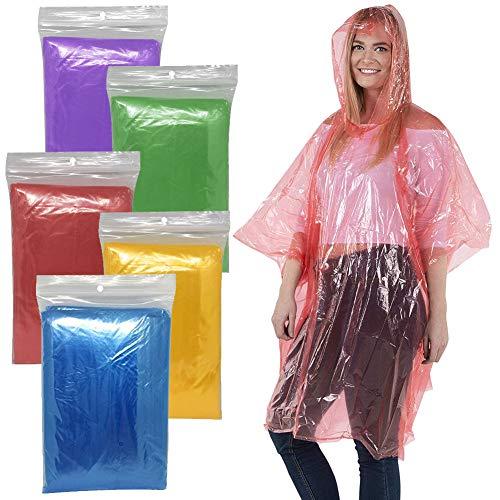 BESTZY Regenponcho mit Kaputze,5Pcs Poncho Einweg PE Regenmäntel Wasserdicht Regenjacken Notfall Wasserdicht Regen Poncho Kunststoff Regencape für Outdoor - Transparent Mehrfarbig