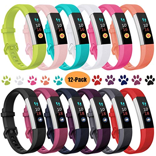 Ouwegaga Compatible for Fitbit Alta Bands, For Fitbit Ace Bands for Kids Small Multi Color 12 Pack