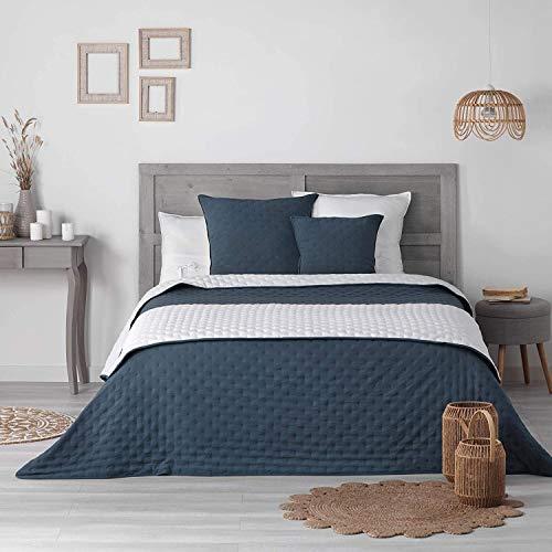 Couvre Lit Matelassé Réversible - 3 Coloris Différents - 240 x 260 cm - 100 % Polyester – Mellow Chic (Bleu)