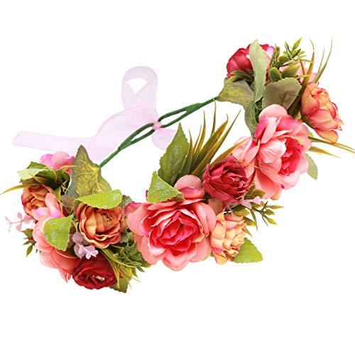 Winslet Blumen Stirnband Hochzeit Haarkranz Krone - Frauen Mädchen Blumenkranz Haare für Hochzeit Party (Rot)