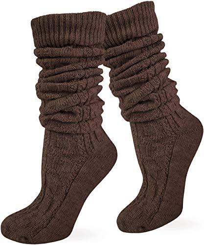 normani Zopfstrumpf elegant mit doppeltem Zopfmuster für Kniebundhosen und Trachtenkleidung Farbe Braun lang Größe 39/42